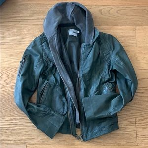 DOMA LEATHER JACKET WITH REMOVABLE HOOD SIZE LARGE